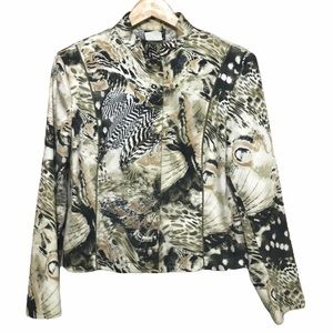 Vintage Massy green animal print zip up jacket 12 Made in Canada